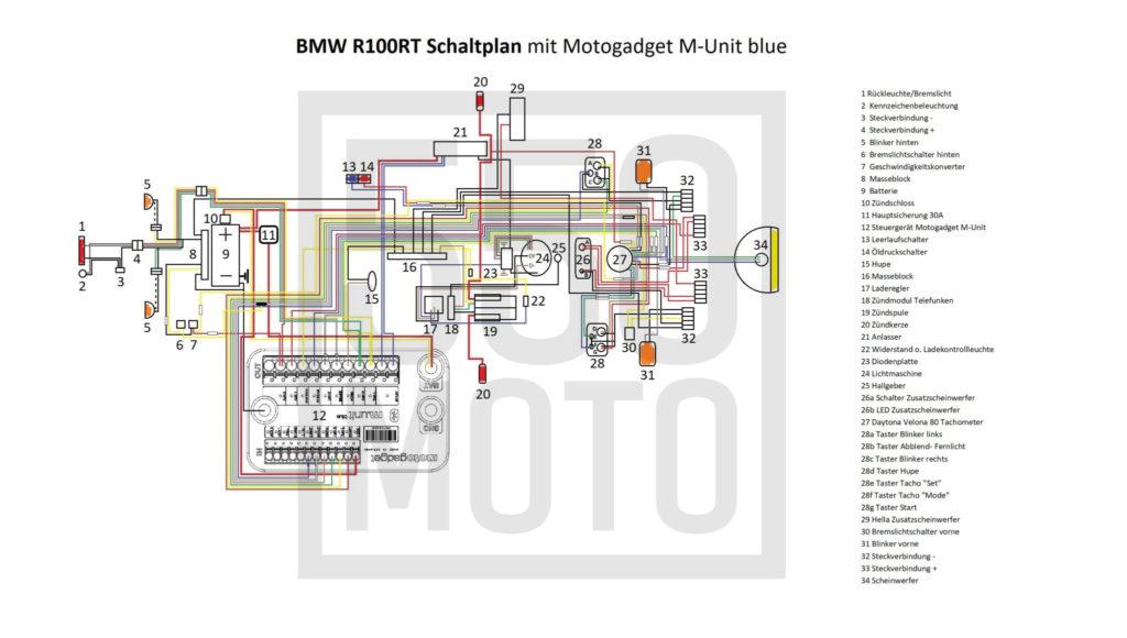 BMW R100 Schaltplan mit Motogadget M-Unit blue 550moto